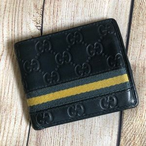GUCCI Guccissima Blue Web GG Bifold Leather Wallet